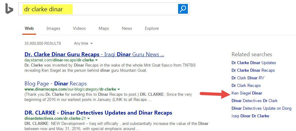 Siegel Name Has Origins In Bavaria - 2011-2013 Mnt Goat Posts - Google Ties Ken, Goat, Dr Clarke Together Bing-dr-clarke-dinar-search-1
